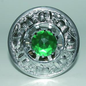 Broche Chardon Chrome Verte